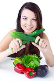 Young girl with  vegetables Royalty Free Stock Image