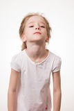 Young girl very frustrated isolated on white background Royalty Free Stock Images