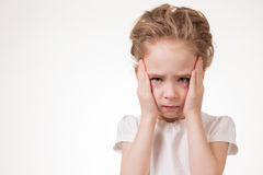 Young girl very frustrated isolated on white background Royalty Free Stock Image
