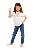 Young girl with victory sign Royalty Free Stock Photos