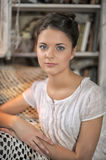 Young girl in a vintage dress. Beautiful young girl in a vintage dress Stock Image