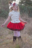 Young girl in vintage style skirt  Royalty Free Stock Photos