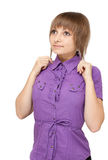 Young girl in violet blouse Royalty Free Stock Photos