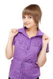 Young girl in violet blouse flirts Royalty Free Stock Images