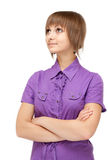 Young girl in violet blouse smiles Royalty Free Stock Photography