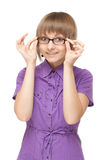 Young girl in violet blouse and spectacles Stock Photography