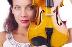 Young girl with violin Stock Photography