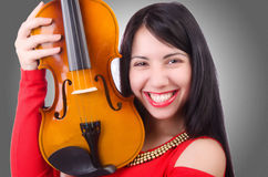 Young girl with violin Stock Image