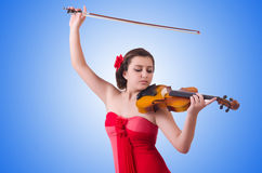 Young girl with violin on white Royalty Free Stock Photography