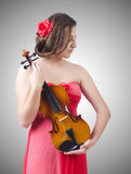Young girl with violin on white Stock Image