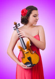 The young girl with violin on white Stock Images