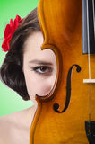 The young girl with violin on white Stock Photo