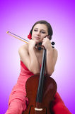 The young girl with violin on white Stock Photos