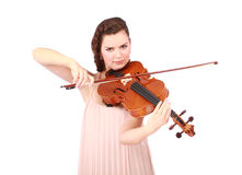 Young girl violinist playing Stock Photos
