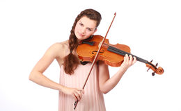 Young girl violinist playing Stock Photography