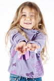 Young girl waiting for a gift stock photography