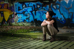 Young girl waiting Stock Images