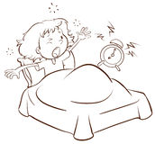 A young girl waking up. A plain drawing of a young girl waking up on a white background Royalty Free Stock Image