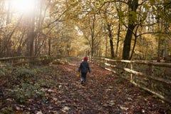 Young Girl Walking Along Path Through Autumn Countryside Royalty Free Stock Photos