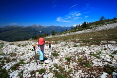 Young girl walking in the alps Stock Photography
