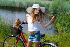 Beautiful girl with bicycle Royalty Free Stock Photo