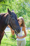 Young girl with a horse. Royalty Free Stock Images