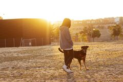 Young girl walking in the park with her shepherd dog with sunlight of sunrise