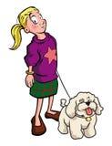 Young girl walking poodle dog Stock Image