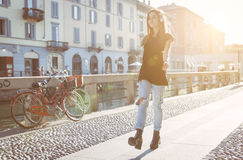 Young girl walking and shaffeling stock photos