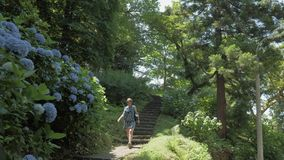 Young girl walking in tropical botanical garden. Batumi, Georgia.  stock footage