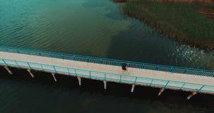 Young girl walking on wooden bridge stock footage