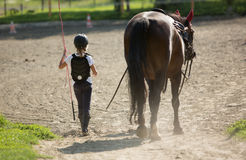 Young girl walks with her horse friend Stock Photos