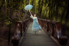 Young girl wants to fly. royalty free stock image