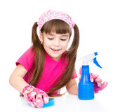 Young girl washes table. isolated on white background Royalty Free Stock Image