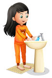 A young girl washing her hands. Illustration of a young girl washing her hands on a white background stock illustration