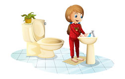 A young girl washing her hands. Illustration of a young girl washing her hands on a white background vector illustration