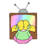 Young girl watching tv. Colour line cartoon drawing of a young girl watching television Stock Images