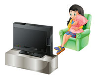 A young girl watching TV vector illustration