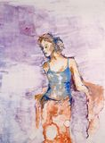 Young girl watercolor drawing Stock Images