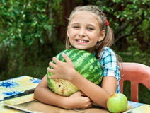 Young girl with watermelon Royalty Free Stock Photo