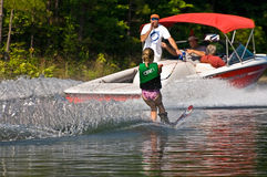 Young Girl Waterskiing Royalty Free Stock Photo