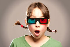 Young girl wearing 3d glasses Stock Image