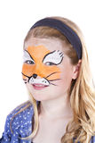 Young girl wearing fox carnival face pain Royalty Free Stock Image