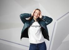 Young girl girl wearing  jacket with area for your logo, mock-up of white women hoodie stock photography