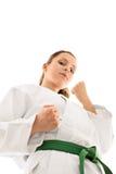 Young girl wearing kimono ready to engage Stock Photo