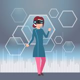 Young Girl Wearing Modern 3d Glasses Virtual Reality Headset Concept. Flat Vector Illustration Royalty Free Stock Image