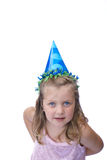 Young Girl Wearing Party Hat Stock Images