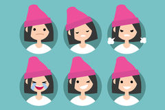 Young girl wearing pink beanie profile pics. / Set of flat vector portraits. upset, offended, angry, laughing, winking, smiling Stock Images