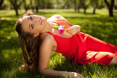 Young girl wearing red dress  lying on the grass Stock Image