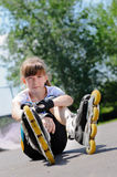 Young girl wearing rollerblades Royalty Free Stock Image